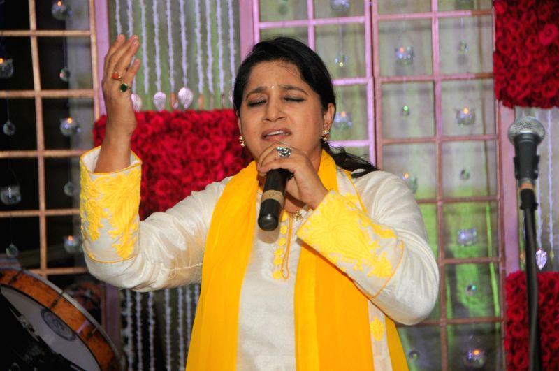 Kavita Sheth during Anup Jalota`s 56th birthday celebrations in Mumbai on July 29, 2014.