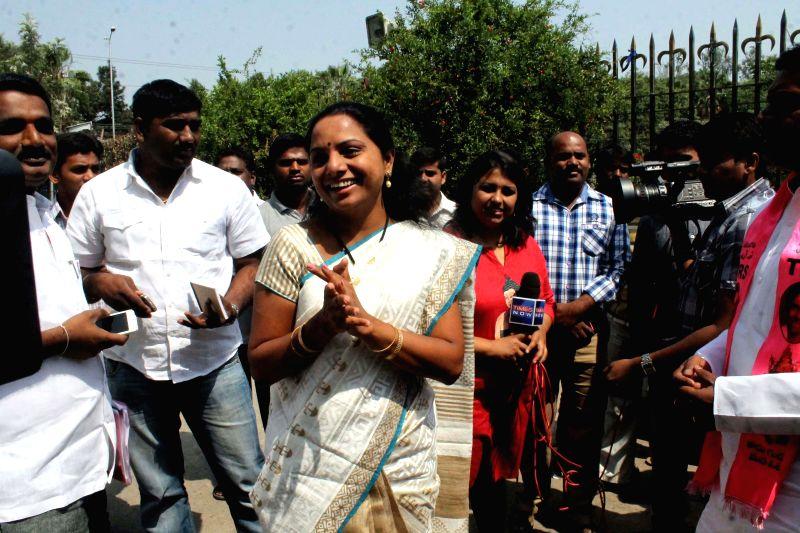 Kavitha, daughter of TRS president K. Chandrashekar Rao at TRS party office in Hyderabad on APril 12, 2014. - K. Chandrashekar Rao