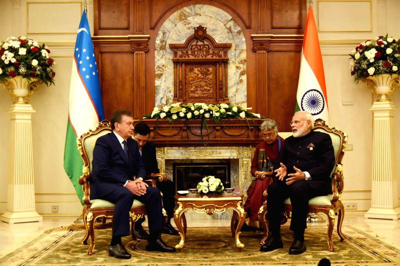 Kazakhstan (Astana): Prime Minister Narendra Modi meets the President of Uzbekistan Shavkat Mirziyoyev, on the sidelines of the SCO Summit, in Astana, Kazakhstan on June 09, 2017. - Narendra Modi