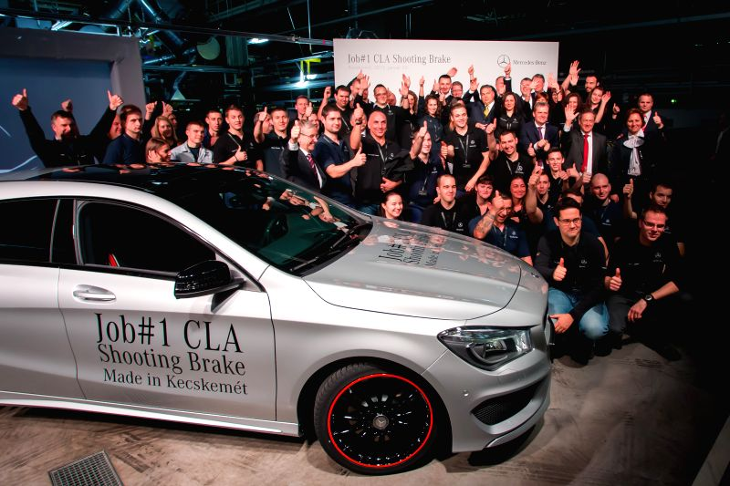 The first car of Mercedes-Benz new model, the CLA Shooting Brake is celebrated in the Mercedes-Benz factory in Kecskemet, central Hungary on Jan. 20, 2015. This ..