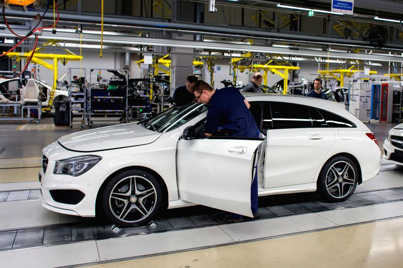 The production line for Mercedes-Benz new model, the CLA Shooting Brake swings into gear in the Mercedes-Benz factory in Kecskemet, central Hungary on Jan. 20, ...