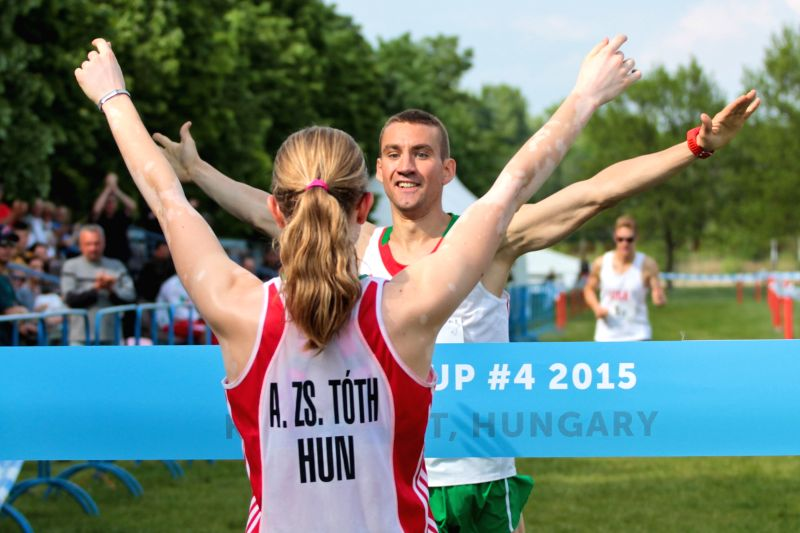 Adam Marosi (Back) and Anna Zs. Toth of Hungary celebrate their victory in the mixed relay on the last day of the modern pentathlon World Cup in Kecskemet, Hungary, ...
