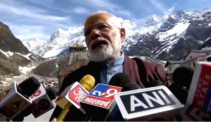 Kedarnath: Prime Minister Narendra Modi talks to press at Kedarnath in Uttarakhand on May 19, 2019.