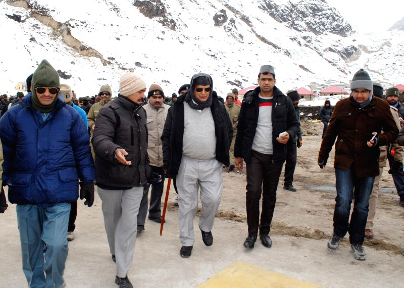 Uttarakhand Chief Minister Harish Rawat at Kedarnath to inspect the reconstruction work there on Dec 22, 2014.