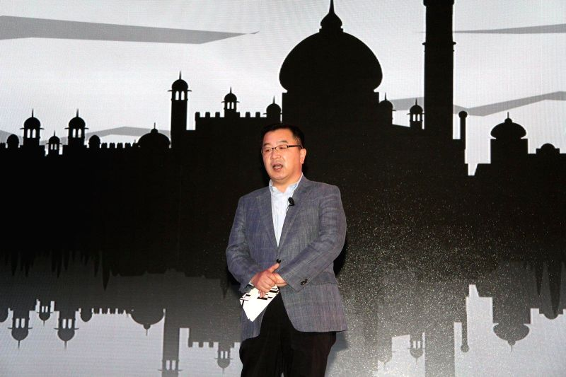 Ken Kang, Senior VP, Mobile & IT, Samsung India during the launch of Samsung Galaxy A5, A3, E7 and E5 in Mumbai on Jan 6, 2015.