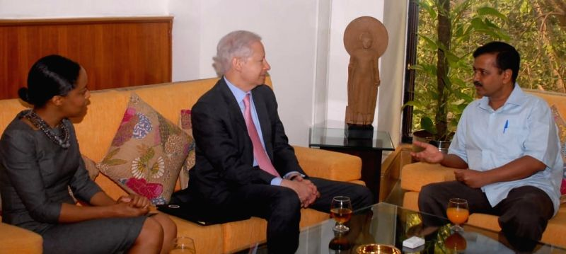 Kenneth Ian Juster, United States Ambassador to India meeting Delhi Chief Minister Arvind Kejriwal at Delhi Secretariat in new Delhi on July 13, 2018. - Arvind Kejriwal