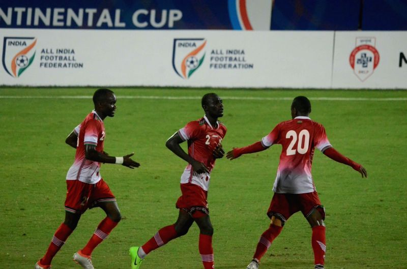 Kenyan players celebrate after scoring a goal during Intercontinental Cup match between Chinese Taipei and Kenya at Andheri Sport Complex in Mumbai on June 8, 2018.