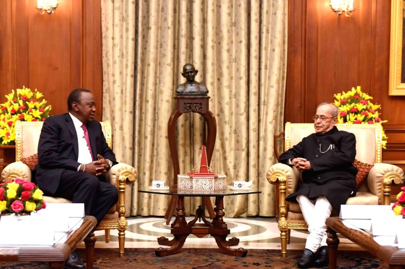 Kenyan President Uhuru Kenyatt calls on President Pranab Mukherjee at Rashtrapati Bhavan in New Delhi on Jan 11, 2017. - Pranab Mukherjee