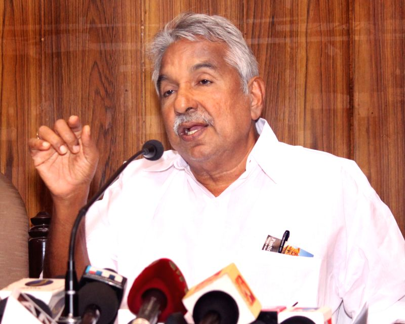 Kerala Chief Minister Oommen Chandy addresses a press conference in New Delhi on July 3, 2015.