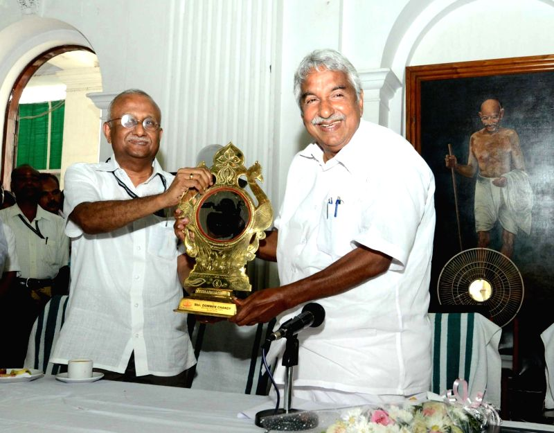 Kerala Chief Minister Oommen Chandy during his farewell at Thiruvananthapuram on May 20, 2016. - Oommen Chandy