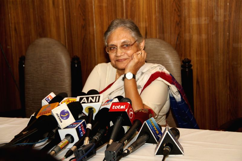 Kerala Governor Sheila Dikshit addresses press after submitting her resignation to the President in New Delhi on Aug 26, 2014.