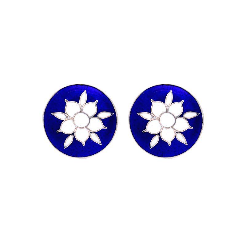 Kesiya Blue and White Mughal Flower Cufflinks (Front)