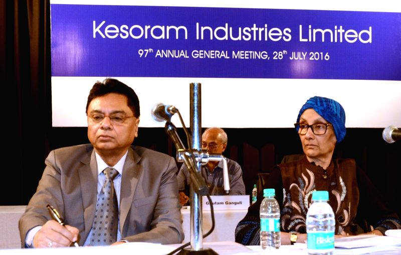 Kesoram Industries Chief Financial Officer Tridib Kumar Das and Executive Vice Chairperson Manjushree Khaitan  during Annual General Meeting in Kolkata on July 28, 2016.