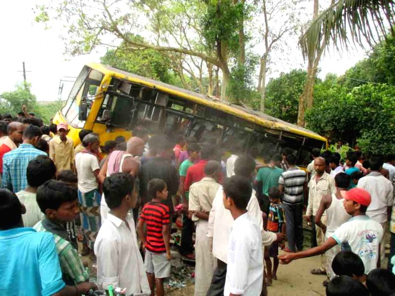 The bus that met with an accident in Khagaria district of Bihar on April 20, 2015. Reportedly twelve school students were injured in the accident.