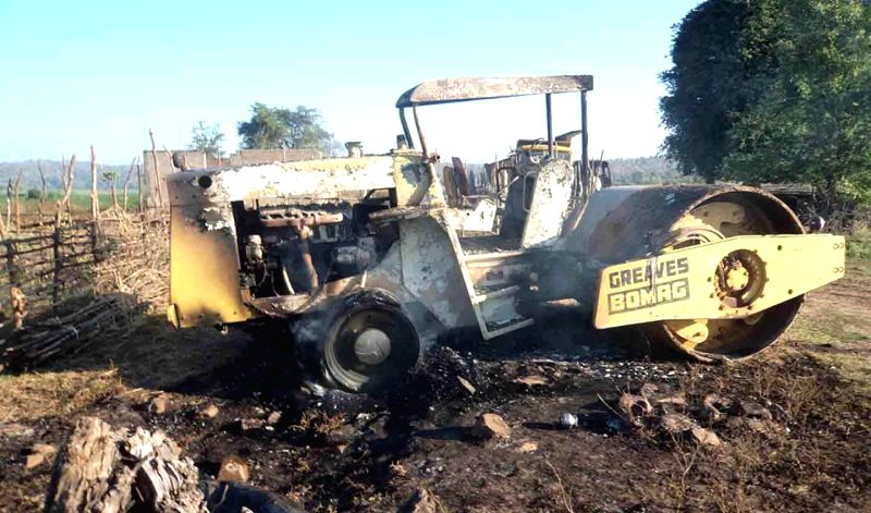 A road roller that was allegedly destroyed by Maoists along with other vehicles being used for road construction, in Khammam district of Telangana on Jan 6, 2015.
