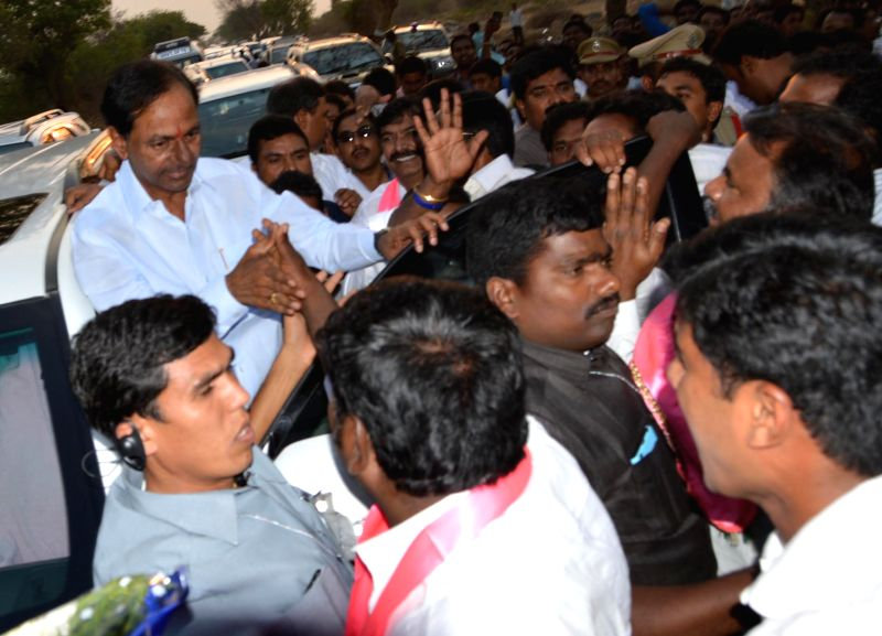 Telangana Chief Minister K Chandrasekhar Rao visits at Khammam district, Telangana, on March 28, 2015. - K Chandrasekhar Rao