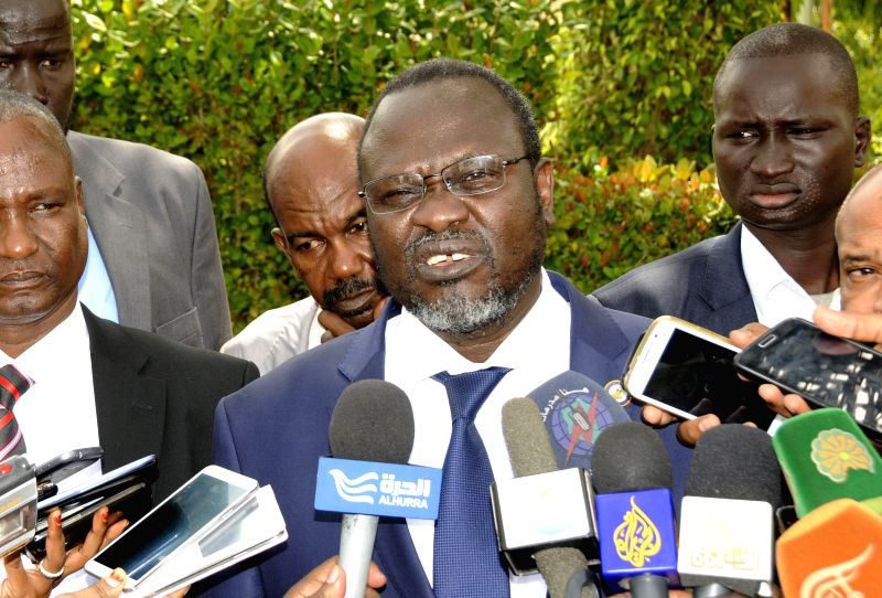 South Sudan rebel leader, former vice president Riek Machar speaks to the media during his visit to Khartoum, Sudan, on Aug. 10, 2014. Machar held talks with ...