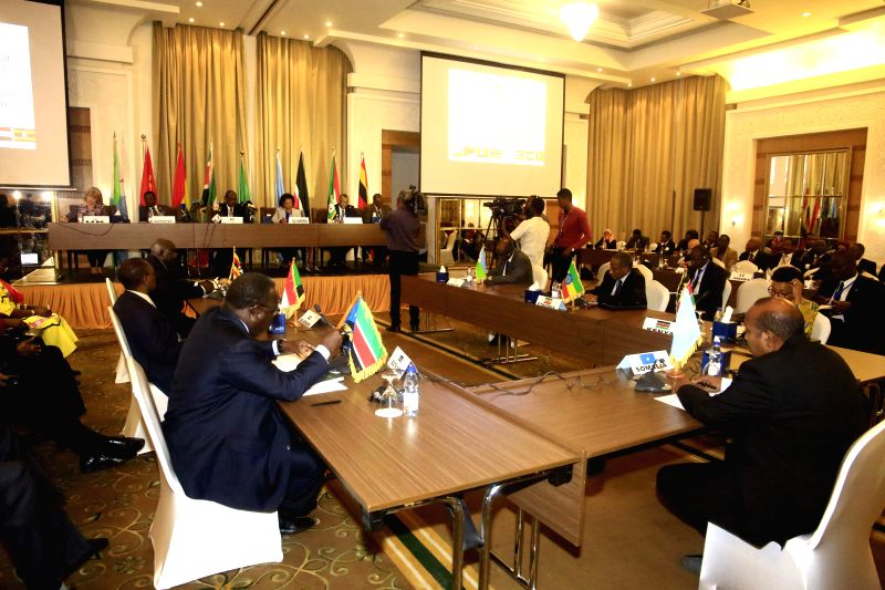 KHARTOUM, Aug. 9, 2018 - Photo taken on Aug. 9, 2018 shows the 64th extraordinary session of the Council of Ministers of Intergovernmental Authority on Development (IGAD) in Khartoum, Sudan. The East ...