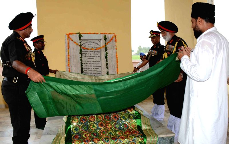 "Khem Karan: Lieutenant General of Western Command KJ Singh pays tribute to martyr Abdul Hamid after the inauguration of ""Shaheed Smarak"" dedicated to martyrs of 1965 and 1971 war at Khem ..."