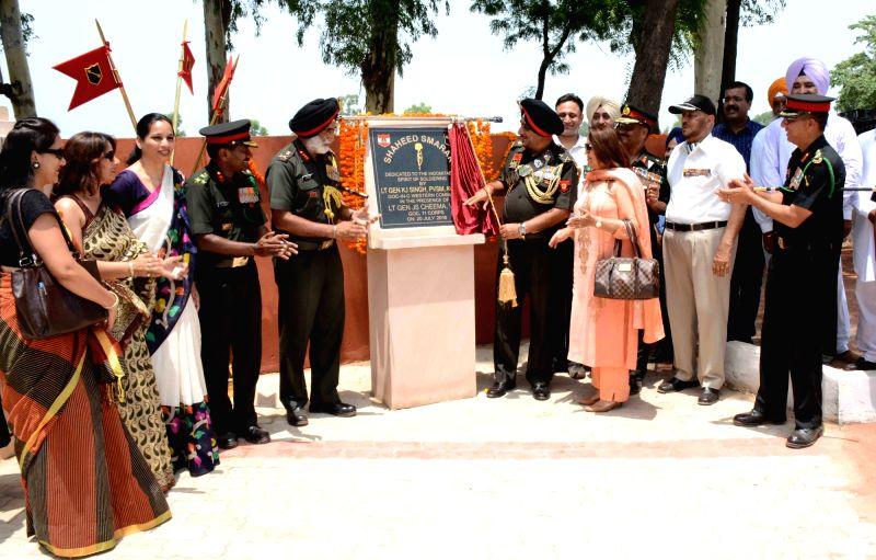 "Khem Karan: Lieutenant General of Western Command KJ Singh during the inauguration of ""Shaheed Smarak"" dedicated to martyrs of 1965 and 1971 war at Khem Karan on the outskirts of Amritsar ..."