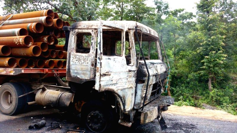 : Khuti: Maoist guerrillas set on fire a truck in Jharkhand's Khuti district, burning to death its driver at Khuti-Ranchi highway during Jharkhand Bandh called by CPI-Maoist, on Aug 3, 2018. ...