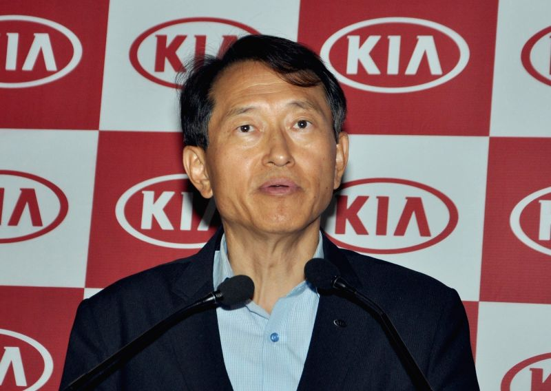 KIA Motors India Executive Director Yong S Kim addresses a press conference, in Kolkata on July 26, 2018.