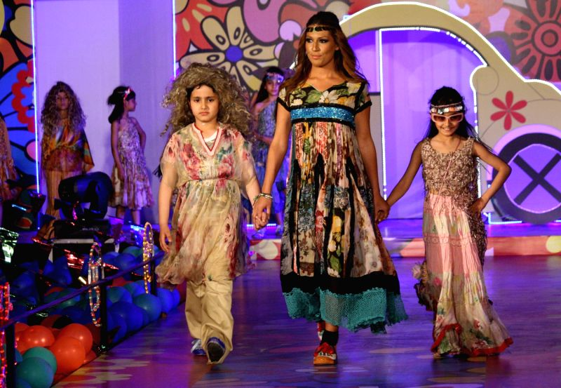 Kids walking on the ramp for Ritu Beri`s The Baby Beri Show, in New Delhi.