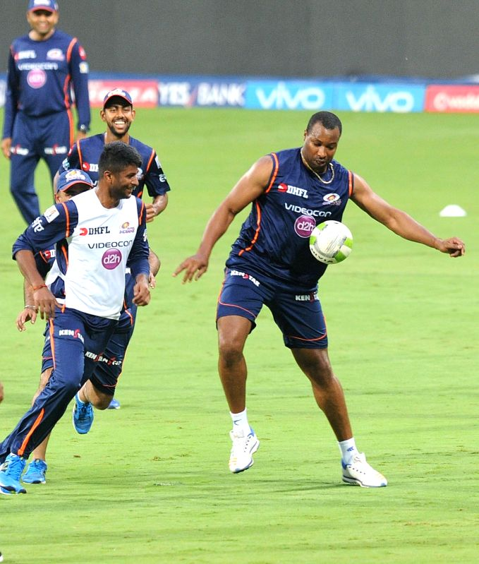 Kieron Pollard of Mumbai Indians during a practice session at Chinnaswamy Stadium in Bengaluru on May 18, 2017.