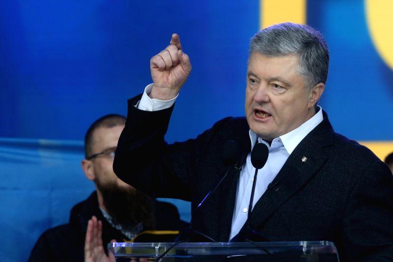 KIEV, April 20, 2019 (Xinhua) -- Ukraine's incumbent President Petro Poroshenko speaks during a debate at the Olympic stadium in Kiev, Ukraine, April 19, 2019. Ukraine's incumbent President and presidential candidate Petro Poroshenko and presidential