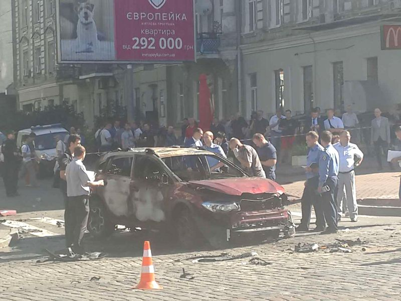 KIEV, July 20, 2016 - Photo taken on July 20, 2016 shows the scene of a car explosion in central Kiev, Ukraine. Pavel Sheremet, a journalist working for the online newspaper Ukrayinska Pravda, was ...