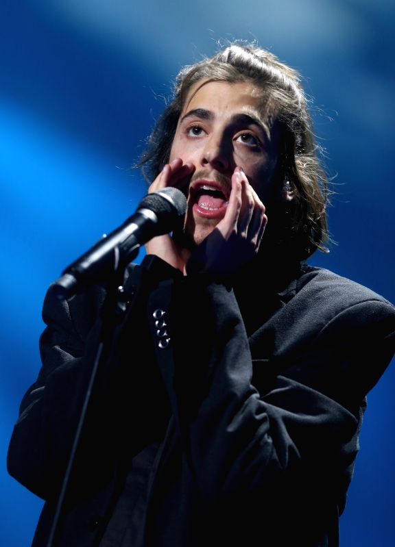KIEV, May 14, 2017 - Portuguese singer Salvador Sobral performs during the rehearsal ahead of the Eurovision Song Contest 2017 Grand Final at the International Exhibition Centre in Kiev, Ukraine, May ...