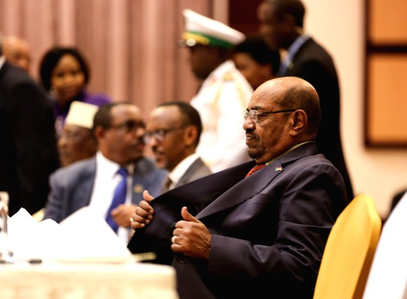 KIGALI, July 17, 2016 - Sudanese President Omar al-Bashir (front) attends a meeting during the African Union (AU) Summit in Kigali, Rwanda, July 16, 2016. The sanctions imposed against the Sudanese ...