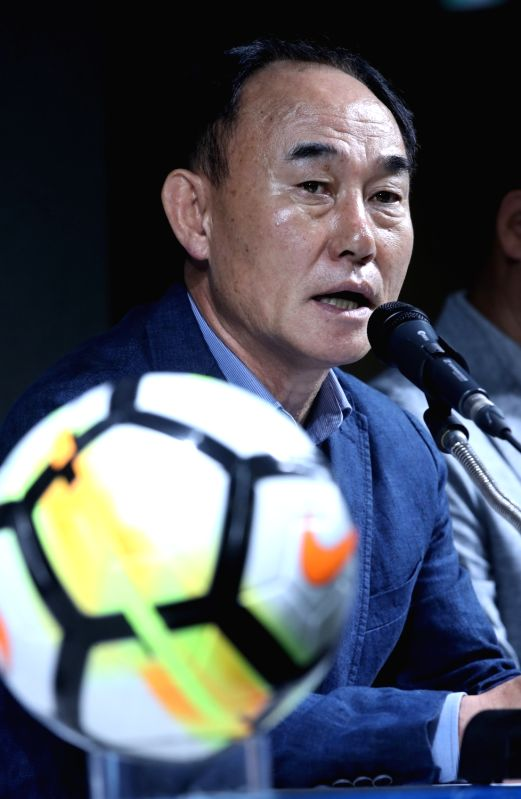 Kim Hak-bum, South Korea's head coach for the men's football team, holds a press conference in Seoul on July 16, 2018, to announce the 20-member roster for the 2018 Asian Games to be held in ...