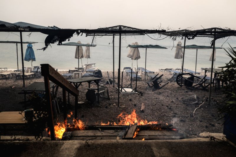 KINETA (GREECE), July 23, 2018 Photo taken on July 23, 2018 shows damaged beach facilities at Kineta near Athens, Greece. Western and Eastern Attica were declared in state of emergency by ...