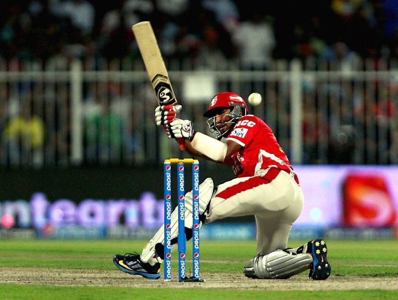 Kings XI Punjab batsman Cheteshwar Pujara in action during the seventh match of IPL 2014 between Rajasthan Royals and Kings XI Punjab, played at Sharjah Cricket Stadium in Sharjah of United Arab ... - Cheteshwar Pujara
