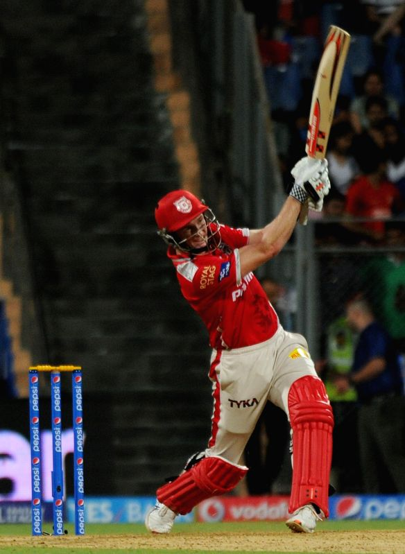 Kings XI Punjab batsman George Bailey in action during an IPL-2015 match between Mumbai Indians and Kings XI Punjab at Wankhede Stadium, in Mumbai, on April 12, 2015. - George Bailey