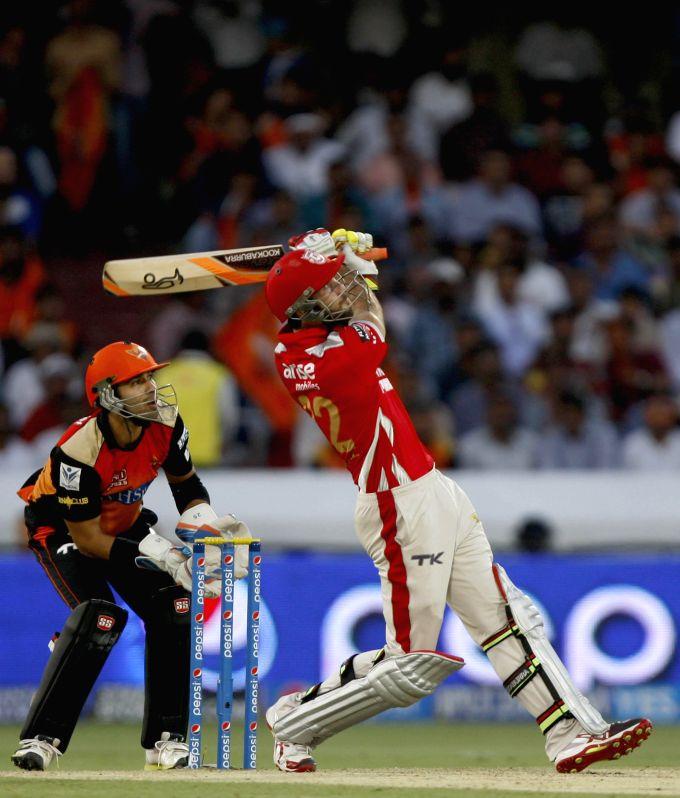 Kings XI Punjab batsman Glenn Maxwell in action during 39th match of IPL 2014 between Sunrisers Hyderabad and Kings XI Punjab at Rajiv Gandhi International Stadium in Hyderabad on May 14, 2014. - Glenn Maxwell