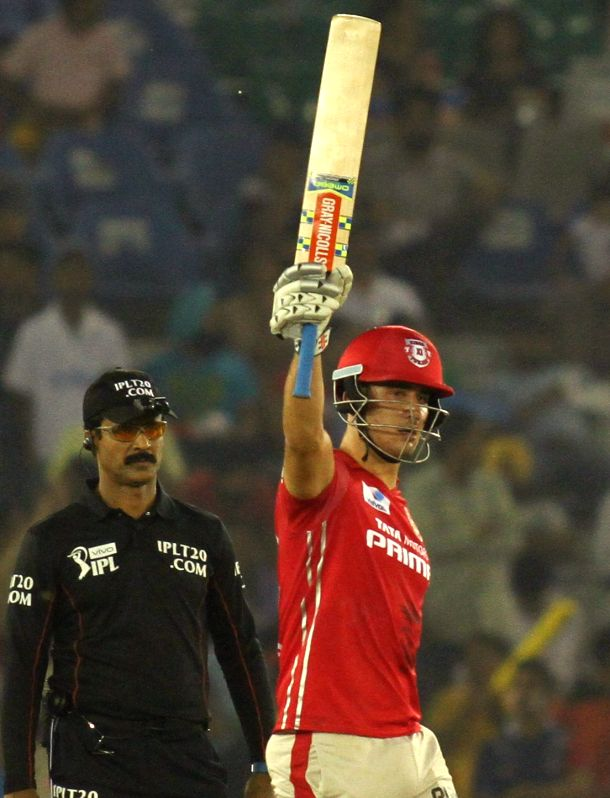 Kings XI Punjab batsman Marcus Stoinis celebrates his half century during an IPL match between Kings XI Punjab and Delhi Daredevils at Punjab Cricket Association IS Bindra Stadium in Mohali ... - Marcus Stoinis
