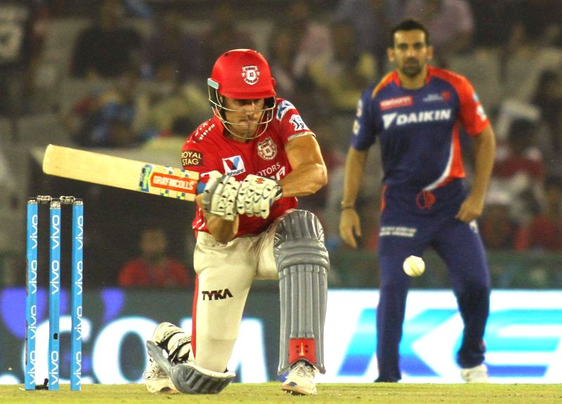 Kings XI Punjab batsman Marcus Stoinis in action during an IPL match between Kings XI Punjab and Delhi Daredevils at Punjab Cricket Association IS Bindra Stadium in Mohali on May 7, 2016. - Marcus Stoinis