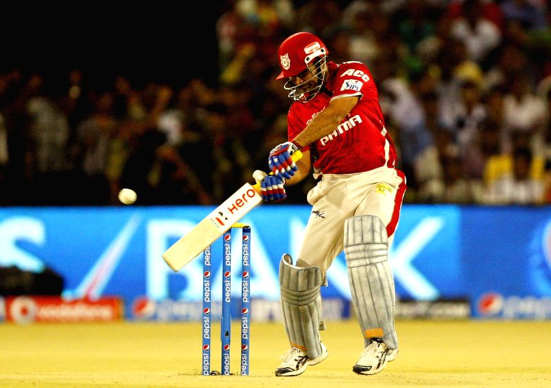 Kings XI Punjab batsman Virender Sehwag in action during the 29th match of IPL 2014 between Chennai Super Kings and Kings XI Punjab at Barabati Stadium in Cuttack on May 7, 2014. - Virender Sehwag