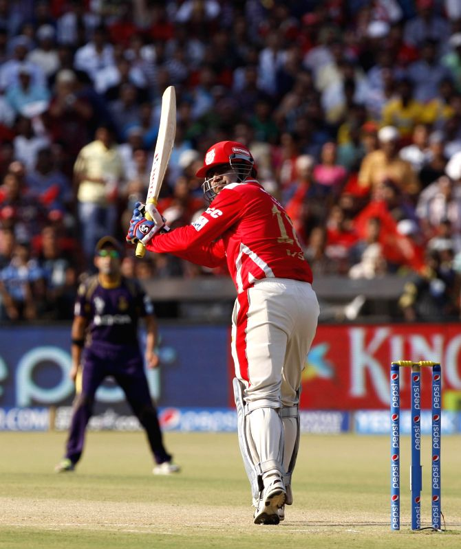 Kings XI Punjab batsman Virender Sehwag in action during the 34th match of IPL 2014 between Kings XI Punjab and Kolkata Knight Riders at Barabati Stadium in Cuttack on May 11, 2014. - Virender Sehwag