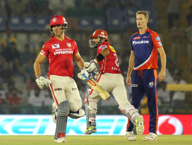 Kings XI Punjab batsmen Marcus Stoinis and Murali Vijay in action during an IPL match between Kings XI Punjab and Delhi Daredevils at Punjab Cricket Association IS Bindra Stadium in Mohali on ...