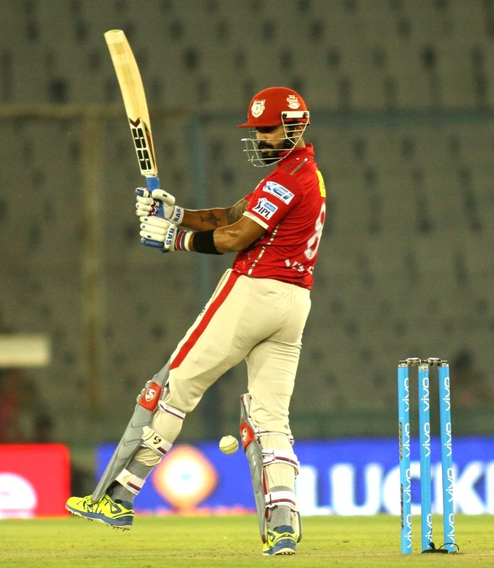 Kings XI Punjab captain Murali Vijay in action during an IPL match between Kings XI Punjab and Delhi Daredevils at Punjab Cricket Association IS Bindra Stadium in Mohali on May 7, 2016. - Murali Vijay