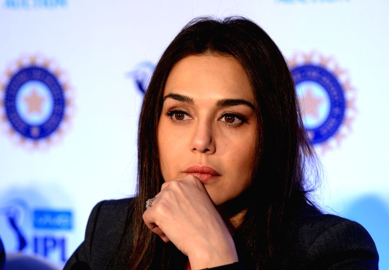 Kings XI Punjab co-owner Preity Zinta addresses a press conference during Indian Premier League (IPL) Players' Auction in Bengaluru on Jan 28, 2018. - Preity Zinta