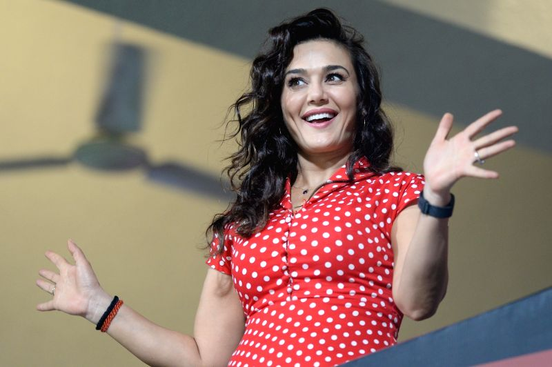 Kings XI Punjab co-owner Preity Zinta during an IPL 2018 match between Kings XI Punjab and Royal Challengers Bangalore at M.Chinnaswamy Stadium in Bengaluru on April 13, 2018. - Preity Zinta