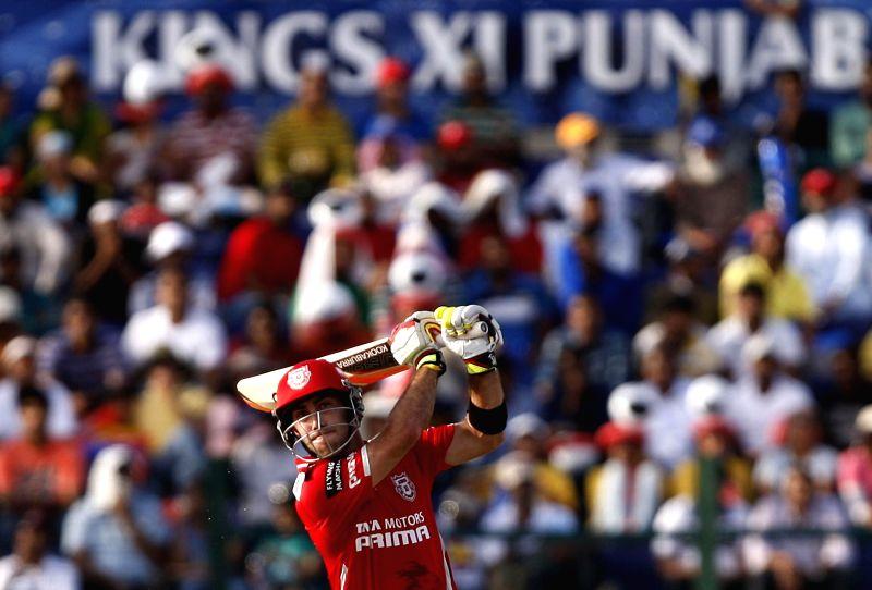 Kings XI Punjab player Glenn Maxwell in action during the third match of IPL 2014 between Chennai Super Kings and Kings XI Punjab, played at Sheikh Zayed Stadium in Abu Dhabi of United Arab Emirates .