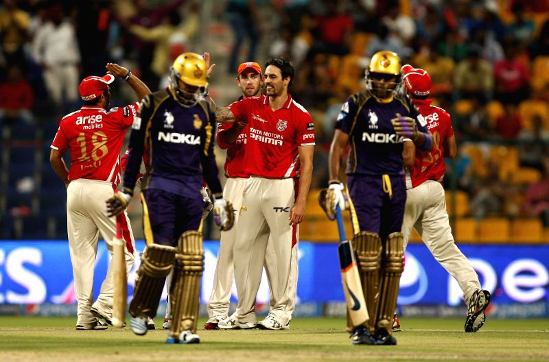 Kings XI Punjab players celebrates fall of a wicket during the 15th match of IPL 2014 between Kolkata Knight Riders and Kings XI Punjab, played at Sheikh Zayed Stadium in Abu Dhabi of United Arab ...