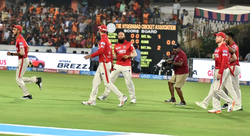 Kings XI Punjab players during an IPL 2017 match between Sunrisers Hyderabad and Kings XI Punjab at Rajiv Gandhi International Stadium in Hyderabad on April 17, 2017.