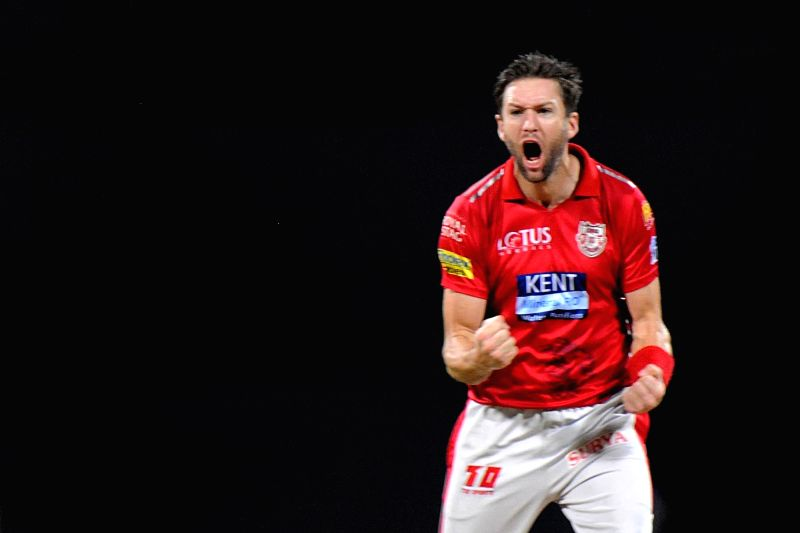 Kings XI Punjab's Andrew Tye celebrates fall of Suryakumar Yadav's wicket during an IPL 2018 match between Mumbai Indians and Kings XI Punjab at Wankhede Stadium in Mumbai, on May 16, 2018. - Suryakumar Yadav
