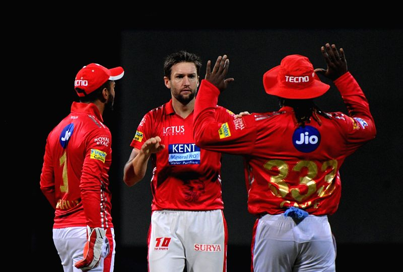 Kings XI Punjab's Andrew Tye celebrates fall of Evin Lewis' wicket during an IPL 2018 match between Mumbai Indians and Kings XI Punjab at Wankhede Stadium in Mumbai, on May 16, 2018.